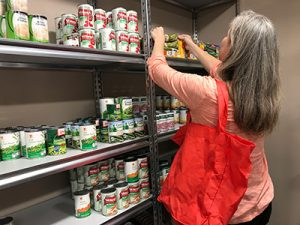 Woman shopping at the Kosher Food pantry