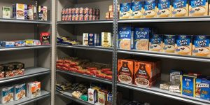 Full shelves at the JCS Kosher Food Pantry